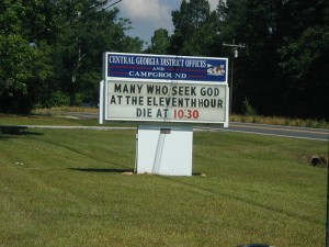 bad church signs 11th hour