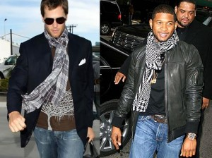 Tom Brady and Usher man scarf