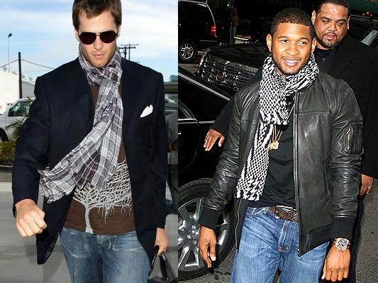 tom brady and usher wearing the casual knot Men Wearing Scarves Paris Men Wearing Scarves Paris