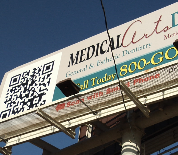 Interstate bilboard with QR code