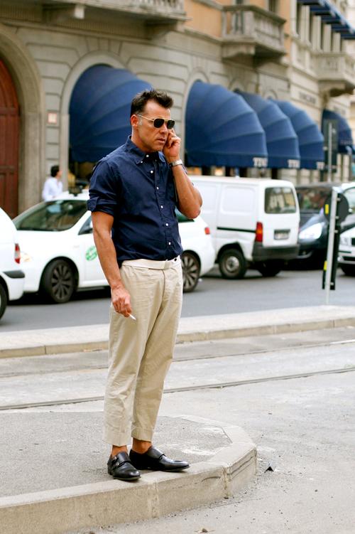 khakis italian cuff blue shirt