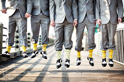 colorful socks bridal group